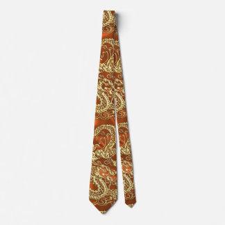 Embossed Gold Dragon on Orange Satin Print Tie