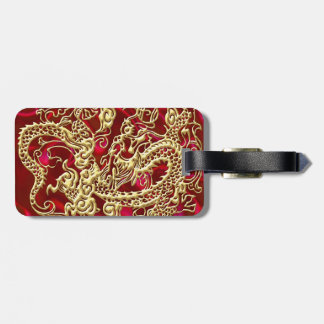 Embossed Gold Dragon on Red Satin Print Luggage Tag