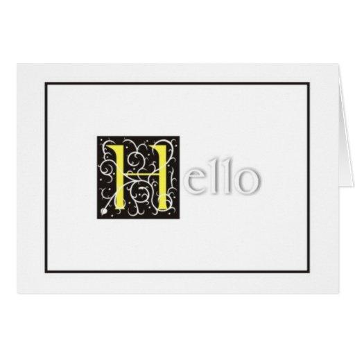 "Embossed ""Hello"" Greeting Card - Blank Inside"