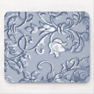 Embossed Metallic Damask Blue Mousepads