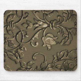 Embossed Metallic Damask Bronze Mouse Pad