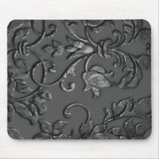 Embossed Metallic Damask Charcoal Mousepads