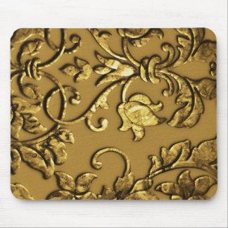 Embossed Metallic Damask, Gold Mousepad