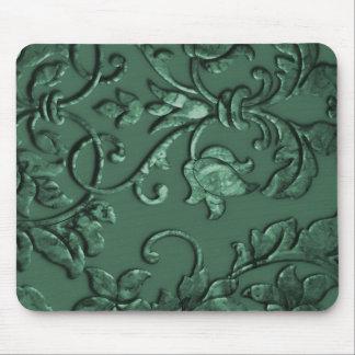 Embossed Metallic Damask Green Mouse Pads