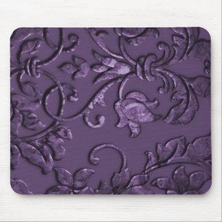 Embossed Metallic Damask, Purple Mousepad