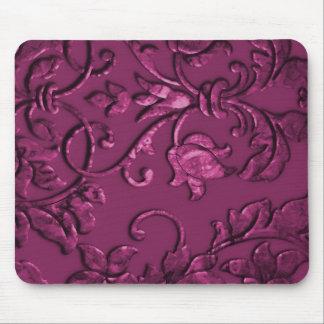 Embossed Metallic Damask Raspberry Mousepad