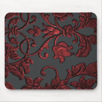 Embossed Metallic Damask, Red Mouse Mats