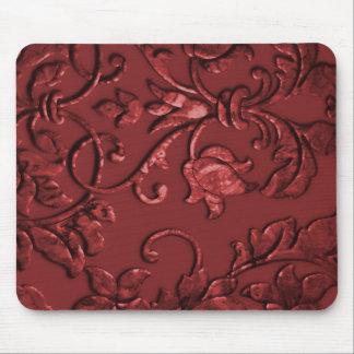 Embossed Metallic Damask Red Mouse Pad
