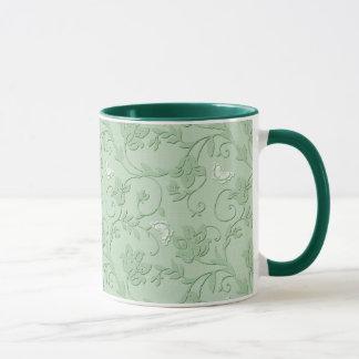 Embossed Swirls and Butterflies Mug - Mint