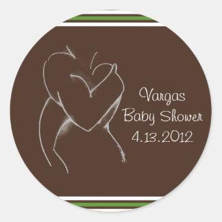 Embrace (baby shower) brown & green round sticker