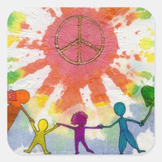 Embrace Peace Mixed Media Artwork Square Sticker