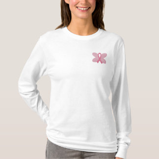 Embroidered Breast Cancer Butterfly Ribbon Embroidered Long Sleeve T-Shirt