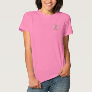 Embroidered Breast Cancer Butterfly Ribbon Embroidered Shirts