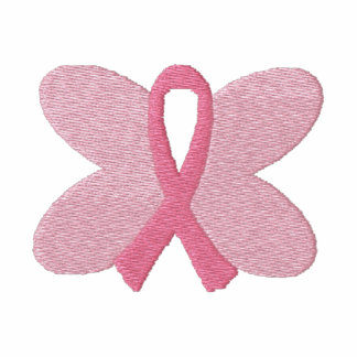 Embroidered Breast Cancer Butterfly Ribbon