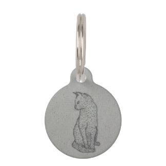 Embroidered cat porcelain pet tag (blank on back)