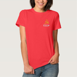 Embroidered CCCP Women T-Shirt Polos