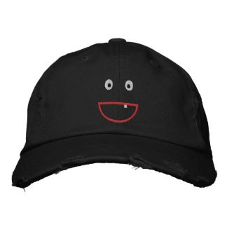 Embroidered Distressed Smiling Cap Embroidered Baseball Cap