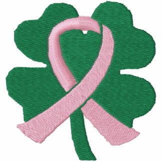 Embroidered Four-Leaf Clover Ribbon Breast Cancer