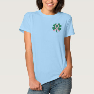 Embroidered Four-Leaf Clover Ribbon Breast Cancer Embroidered Shirts
