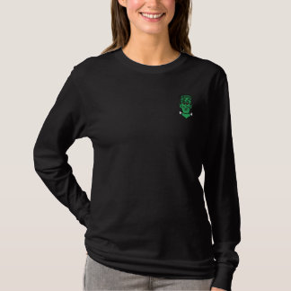 Embroidered Happy Halloween Frankenstein Embroidered Long Sleeve T-Shirt