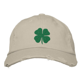Embroidered Irish Four Leaf Clover Embroidered Baseball Caps