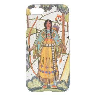 Embroidered Look Native American Maiden Bow Arrow iPhone 7 Case