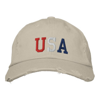Embroidered Red White and Blue USA Sports Hat Embroidered Hat
