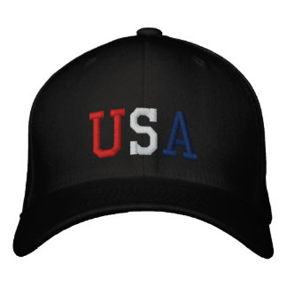 Embroidered Red White and Blue USA Sports Hat Baseball Cap