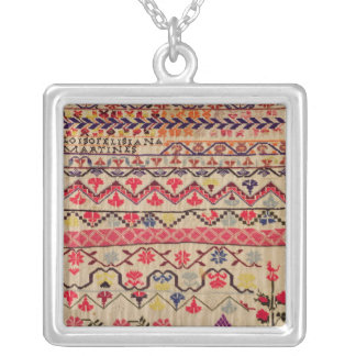 Embroidery sampler silver plated necklace