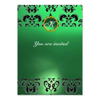 EMERALD DAMASK GEM STONE MONOGRAM green black Invite