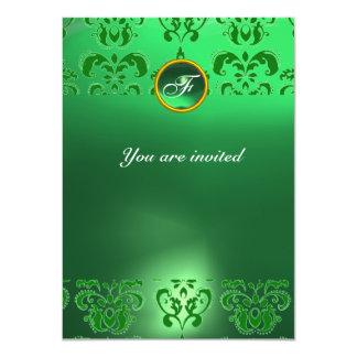 EMERALD DAMASK GEM STONE MONOGRAM green Invitation