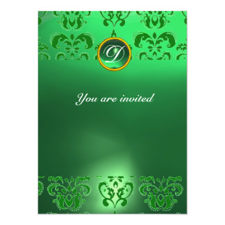 EMERALD DAMASK GEM STONE MONOGRAM green Custom Invitations