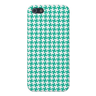 Emerald Green and White Dogtooth Check Pattern iPhone 5 Cover