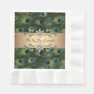 Emerald Green Gold Peacock Wedding Paper Napkins