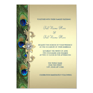 "Emerald Green Gold Royal Indian Peacock Wedding 5"" X 7"" Invitation Card"