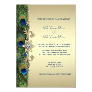 "Emerald Green Gold Royal Indian Peacock Wedding 5"" X 7"" Invitation Card"