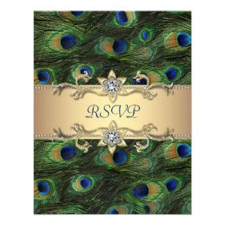 Emerald Green Gold Royal Indian Peacock Wedding Announcement