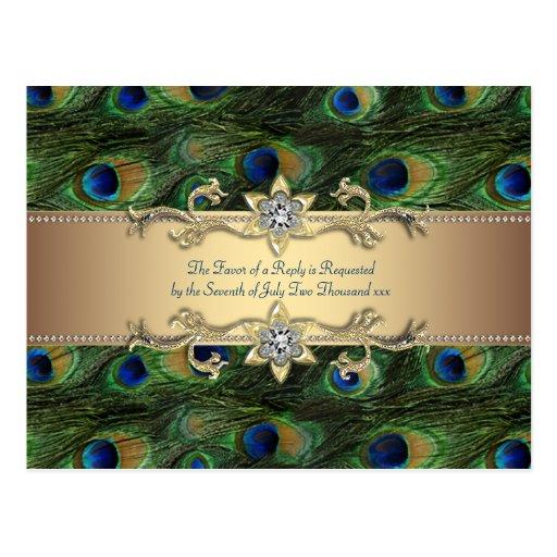 Emerald Green Gold Royal Indian Peacock Wedding Postcards