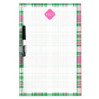 Emerald Green Hot Pink Wht Preppy Madras Monogram Dry-Erase Whiteboards