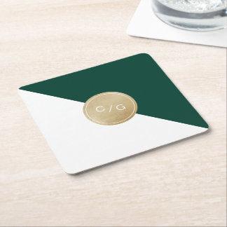 Emerald green minimalist modern wedding monogram square paper coaster