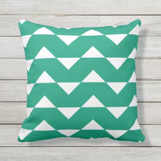Emerald Green Outdoor Pillows Chevron Pattern