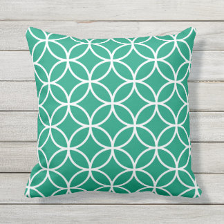 Emerald Green Outdoor Pillows - Circle Trellis