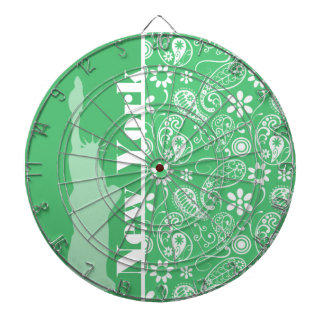 Emerald Green Paisley; New York City Dartboard