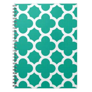 Emerald Green Quatrefoil Trellis Pattern Notebook