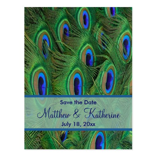 Emerald Green Royal Blue Peacock Feathers Wedding Postcards