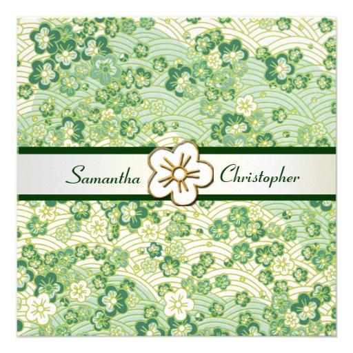 Emerald green Sakura Chirimen wedding invitations