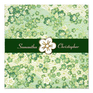 "Emerald green Sakura Chirimen wedding invitations 5.25"" Square Invitation Card"