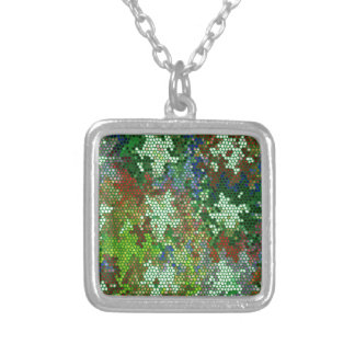 Emerald Green Stained Glass Star Pattern Square Pendant Necklace
