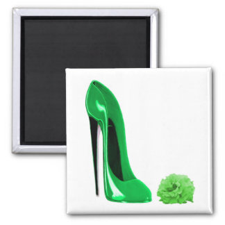 Emerald Green Stiletto Shoe and Rose Refrigerator Magnets