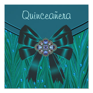 "Emerald Green Teal Blue Quinceanera 5.25"" Square Invitation Card"